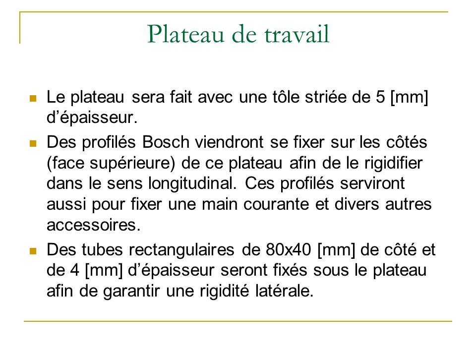 Plateau de travail Le plateau sera fait avec une tôle striée de 5 [mm] d'épaisseur.